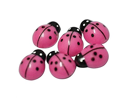 JxucTo Fé e mignonne Miniature Ladybugs Micro Landscape Ornament DIY Flowerpot Plant Pot Decor 3D Wall Stickers (Pink)