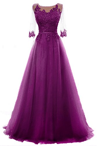 Vickyben Damen A-Linie langes Schnuerung Prinzessin Tuell Abendkleid Ballkleid brautjungfer Cocktail Party kleid morado