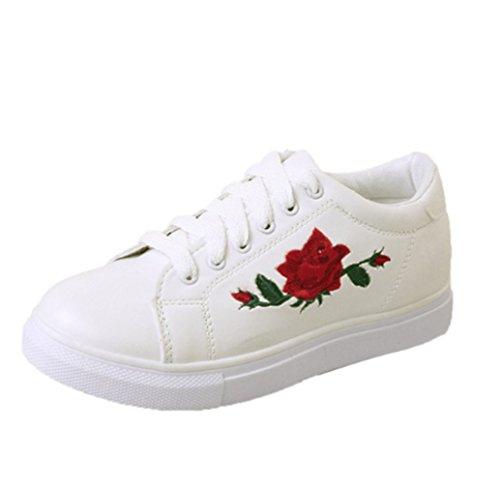 Ricamo Fiore XINGMU Donna Moda Con Bianco Sneakers La Cinghie Lacci Scarpe Vulcanizzare Scarpa Scarpe Donne Donna axzwaf8q