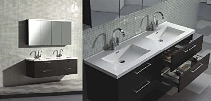 67 Modern Double Bathroom Vanity Set Grey Oak Finish With Faucets