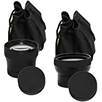37mm Hi Definition Multi Coated Wide Angle & Telephoto Lenses For HD Digital Video & Camera Recording w/Pouches & Caps