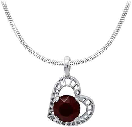 15adae1f4 Mahi Women's With Swarovski Elements Red Stylized Heart Rhodium Plated  Pendant