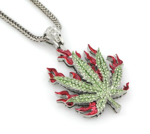 Hip Hop Bling Gold Tone Marijuana Weed Leaf Rock The Ganja Leaf Pendant