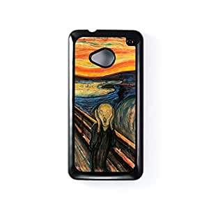 The Scream by Edvard Munch Black Hard Plastic Case Snap-On Protective Back Cover for HTC? One M7 by Painting Masterpieces + FREE Crystal Clear Screen Protector