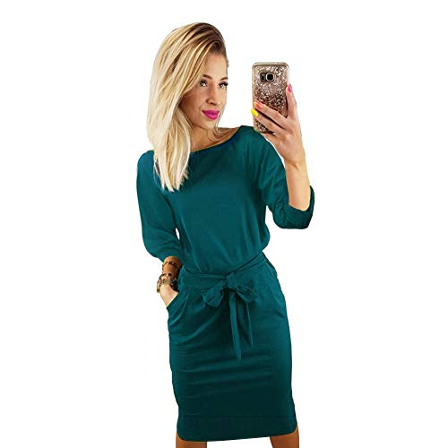 (Longwu Women's Elegant Lantern Sleeve Wear to Work Casual Pencil Dress with Belt Dark Green-XL)