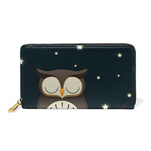 Organizer TIZORAX Sleepy Wallet Zip And Handbags Purses Around Womens Owl Clutch qXAwZfXpC