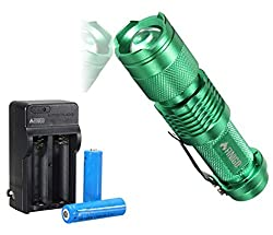 FINIGO Mini Led Flashlight Torch Adjustable Focus Zoom Light (With 14500 Batteries and Charger) from FINIGO