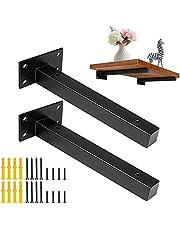 DMSL 8 inch plankbeugel zwart drijvende high-performance plankbeugels wandplanken gemaakt van zwart ijzer, metaal, staal, ideaal voor aangepaste planken voor doe-het-zelf liefhebbers, (2 pack)