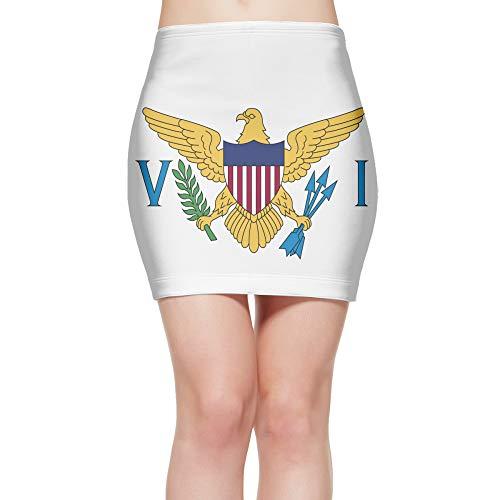 Tight Mini Skirt Flag of The United States Virgin Islands Women's High Waist Short Skirt