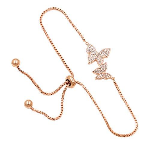WeimanJewelry Love Gift Cubic Zirconia CZ Bridal Butterfly Adjustable Bracelet for Women (Rose -