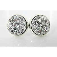 a9e5ec2be Silver-tone Faux Druzy Stone Stud Earrings 12mm