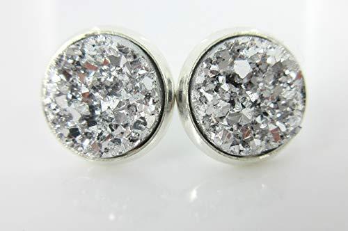 Silver-tone Faux Druzy Stone Stud Earrings 12mm