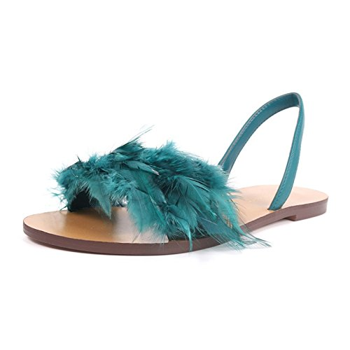 Flat Shoes Shoes Flat Spring Sandals Wild Toe Sandals Beach Open Feather Summer And Women ZHANGJIA Holiday green Female Shoes qx1R4Zw0pA