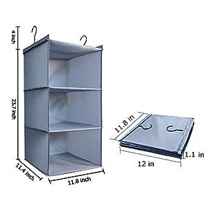 DonYeco Hanging Closet Organizer, Easy Mount Foldable 3-Shelf Hanging Closet Wardrobe Storage Shelves, Clothes Handbag…