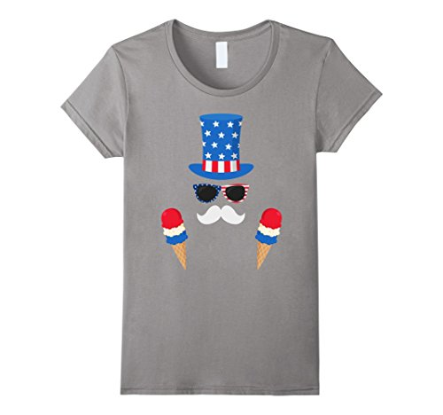 Womens Uncle Sam Costume Ice Cream Cones - 4th of July T-Shirt Medium Slate