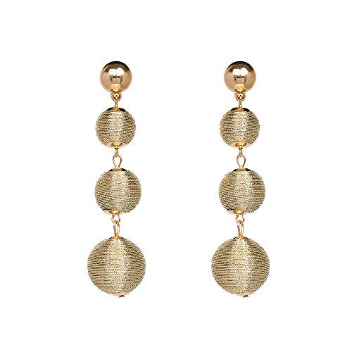 (Thread Ball Dangle Earrings Beaded Lantern Ear Stud Drop Wrapped Triple Balls Fashion Tassel Earring for Women -Gold)