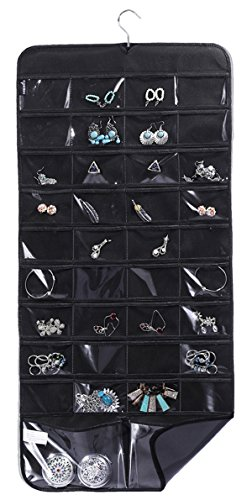misslo hanging jewelry organizer with rotating hanger, 76 pockets, black