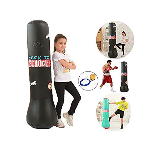 wolfsport 1.5M Boxing Punching Bag Inflatable Free-Stand Tumbler Muay Thai Training Pressure Relief Bounce Back Sandbag…