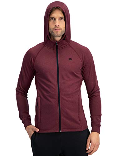 Zip Maroon Hoody Full - Sweatshirts for Men Zip Up Hoodie - Dry Fit Full Zip Jacket, French Terry Fabric Maroon