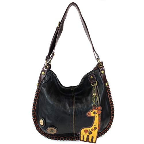 Charming X-large Hobo/Xbody Convertible Handbags with Giraffe Keyfob (Black) ()