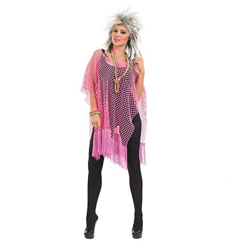 Adults Pink Punk Rock Poncho 80s Womens Mens Unisex Neon Costume Accessory