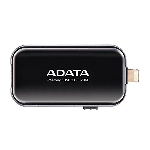 ADATA UE710 128GB MFi Certified i-Memory Lightning/ USB 3.0 Retractable Capless Flash Drive for iOS  iPad, iPhone, Mac & PC, Black (AUE710-128G-CBK) by ADATA