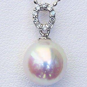 真珠パール ペンダントトップ パール ペンダントヘッド wg あこや本真珠 8mm アコヤ ダイヤモンド 0.05ct K18WG ホワイトゴールド 結婚式 記念日 パーティー