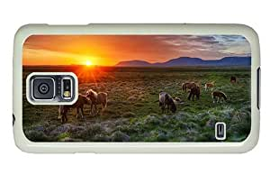 Hipster Samsung Galaxy S5 Case indestructible cover wild horses sunset PC White for Samsung S5