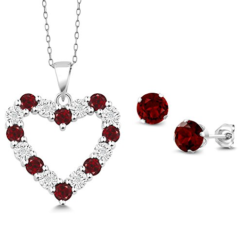 - Gem Stone King Diamond and Red Garnet 925 Sterling Silver Heart Pendant Earrings Set 18inches Chain
