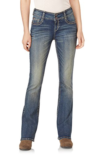 WallFlower Junior's Instastretch Luscious Curvy Bootcut Jeans, Basil, 0