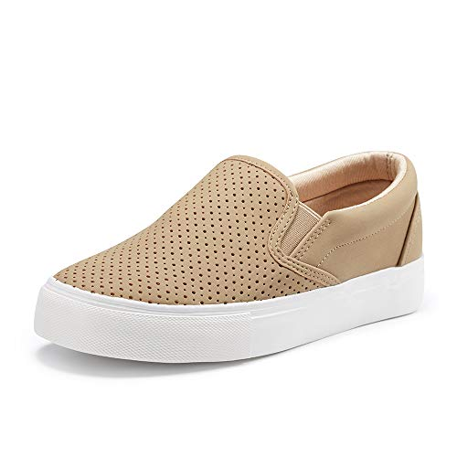 JENN ARDOR Women's Fashion Sneakers Perforated Slip on Flats Comfortable Walking Casual Shoes Taupe 9 US