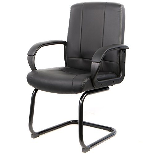 Barton Receptional Office Chair PU Leather Thick Seat Pad w/ Sled Metal Base by Barton