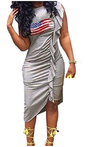 American Fit Flag Printed Silm Sexy Irregular Sleeveless Dresses Women Pleated Gray Coolred qxSIwaXCx