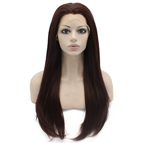 24inch Long Straight Dark Reddish Auburn Lace Front Wig Natural Half Hand Tied Synthetic Fiber Hair Wig at Mxangel (Reddish Auburn)