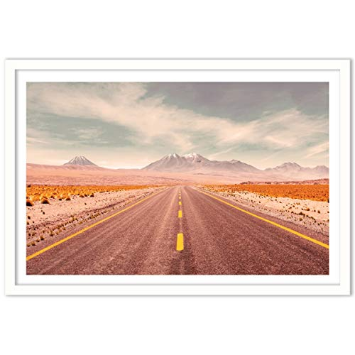 Humble Chic Framed Wall Decor - Fine Art Picture Poster Prints in White Frame for Home Decorations Living Dining Room Bedroom Kitchen Bathroom Office - Endless Highway Desert, 24x36 Horizontal