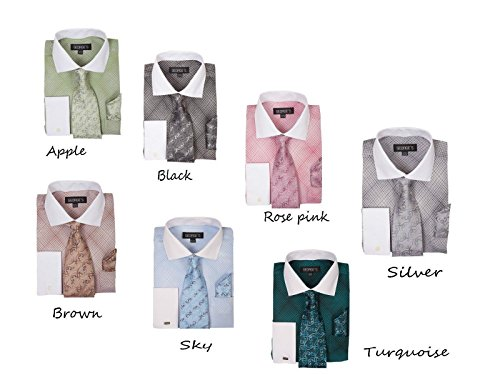 George's Small Check Pattern Fashion Dress Shirt With Woven Tie Set AH624