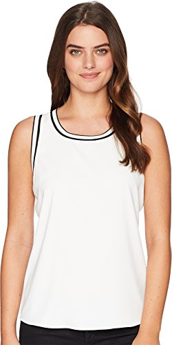 Tommy Hilfiger Women's Sleeveless Woven Pullover Top w/Trim Ivory ()
