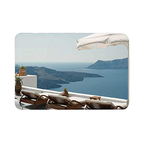 C COABALLA Travel Decor Durable Door Mat,Sunbathing with Caldera View Terrace Santorini Aegean Greece Print for Living Room,15.7