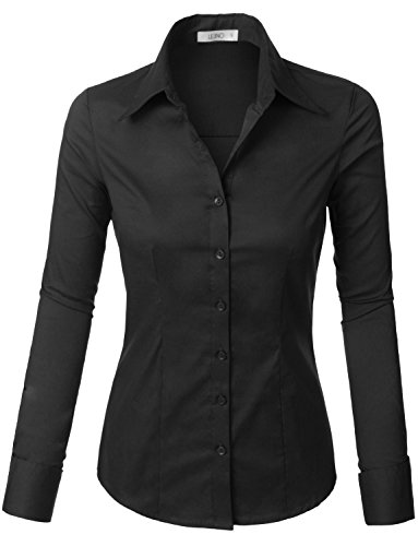 (LE3NO Womens Tailored Long Sleeve Button Down Shirt with Stretch, L3NWT573A BLACK, Medium)