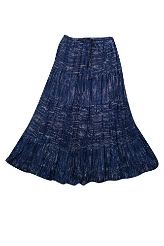 Mogul Interior Womens Long Skirt Pretty Paisley Floral Printed Gypsy Boho Beach Fashion Peasant Skirts (Pretty Floral Skirt)