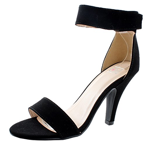 Delicious Women's Rosela Open Toe High Heel Ankle Strap Sandal Black Nubuck Pu 6 M US