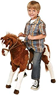 product image for Sit-On Plush Pinto Horse with Western Saddle and Bridle, Ride On Toys for Boys and Girls - Max Weight 150 LBS, 28'' Tall