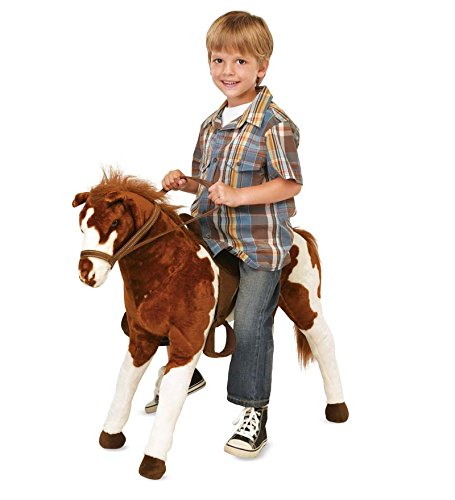 Sit-On Plush Pinto Horse with Western Saddle and Bridle, Ride On Toys for Boys and Girls - Max Weight 150 LBS, 28'' Tall by Magic Cabin