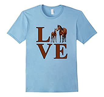 Men's Horse Love Bay Mare and Foal 3XL Baby Blue