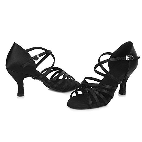 4040 l'Femme Satin FR Chaussons Noir Danse HROYL de en Latine 4gSY8qZ