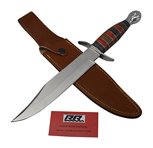 Rogue River Tactical Fixed Blade Hunting Knife Large Survival Bowie Knife Jim Bowie Arkansas Toothpick With Leather Sheath (15 Inch)
