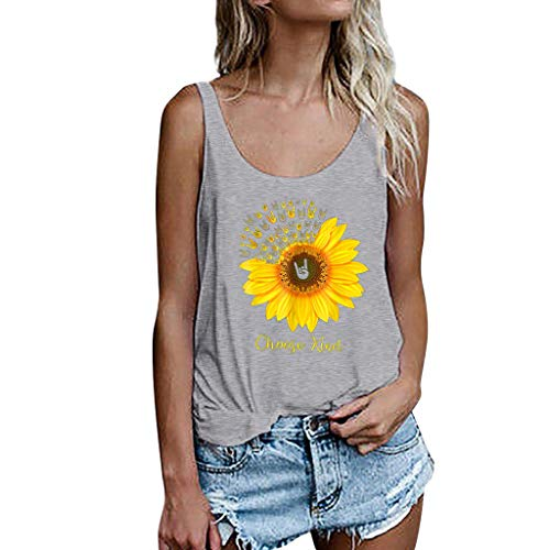 ♡ Londony ♡ Women's Sleeveless Summer Flowy Print Floral Spaghetti Strappy Tank Tops Casual Strap Camis Shirt Gray