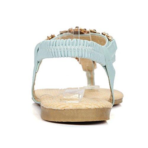 COOLCEPT Azul Colegio Planos Bohemian Flop Sandalias Moda Mujer Sandalias Flip rI0zrq