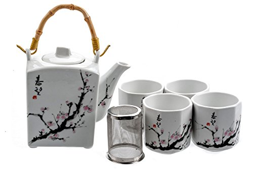 M.V. Trading MVTS-001 Porcelain Tea Set with Sakura Flower Design