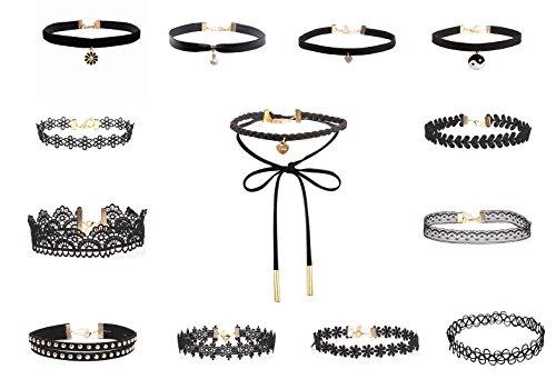 VK Accessories 13PCS Women Chokers Velet Elegant Lace Leather Choker Set Necklace (Summer Accessory)